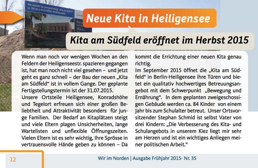 Kita am Südfeld Magazin